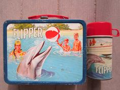 Vintage lunch box and thermos   ... Lunch Boxes and Thermos :: Vintage FLIPPER Metal Lunch Box and Thermos