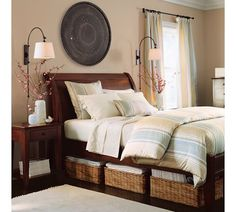 adjustable sconces- perfect for reading in bed and doesn't take up room on your nightstand!