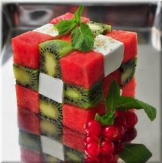 watermelon, feta, kiwi block salad