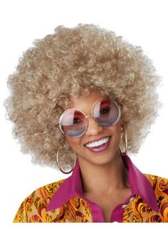 Go with a retro disco look in this dirty blonde curly Afro wig.