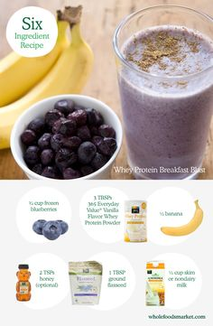 Smoothies are a great way to get a lot of nutrients into one simple drink. From breakfast to dessert, smoothie recipes run the gamut on ingredients, allowing you to add just about anything. We've put together a smoothie recipe collection with simple ingredients like this Whey Protein Breakfast Blast with blueberries and bananas.   Try our smoothie builder to choose your favorite fruits, veggies and extras, and you'll get a custom shopping list and nutrition facts.