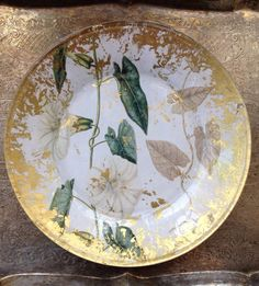 Hand Crafted Decoupage Plate Morning Glory by kristihughesdesign