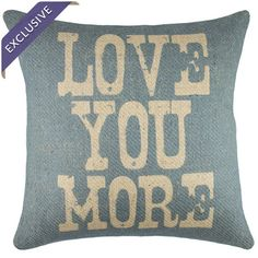 Handmade in the USA, this lovely pillow features burlap upholstery and a typographic motif.    Product: PillowConst...