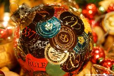 Christmas Wine Ornament with orange & multi by LilRedsTreasures