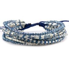 Mezcla azul de cristal multi Strand pulsera