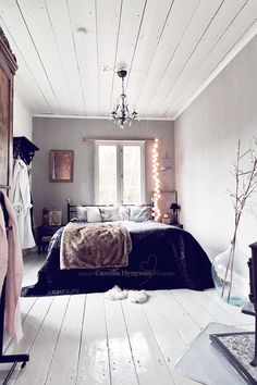 White painted rustic bedroom decor