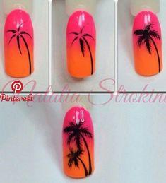 New Ideas palm tree nails nailart Nail Art Diy, Diy Nails, Cute Nails, Pretty Nails, Palm Tree Nail Art, Palm Nails, Nail Drawing, Nagellack Design, Nail Art Techniques