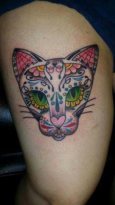 Sugar skull cat tattoo