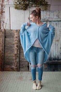 Closed front blue cardigan women's sweater    RUKE - Quality sweaters manufactory
