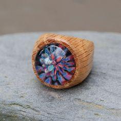 Wood Ring Glass Cab Boro Borosilicate Lampwork Wooden Jewelry Confetti Cannon Size 8.5. $50.00, via Etsy.