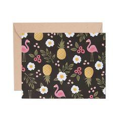 Floral Flamingos Card with Kraft Envelope