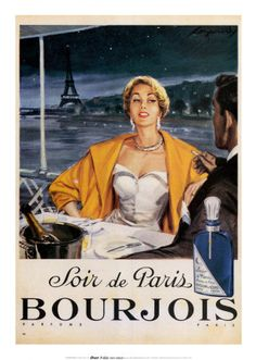 Soir de Paris, Bourjois Parfums Vintage Perfume and Cosmetic Posters Giclees Oversize Canvas Murals from Enjoy Art. Pub Vintage, Vintage Paris, French Vintage, Vintage Glamour, Bourjois Perfume, Perfume Ad, Paris Perfume, Perfume Bottles, Poster Ads