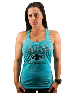 Women's College Burnout Racerback Tank - Tahiti Blue $25