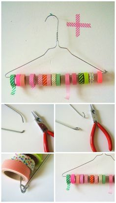 kreativ idé til en holder til maskingtape, washitape, bånd, trisser og spoler - opbevaring af tape...