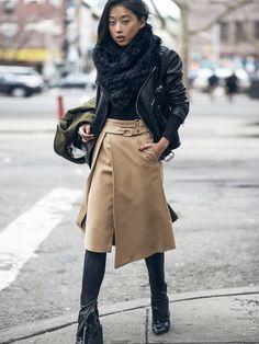 MargaretZhang-ShineByThree-NYC-Winter May 5, 2015 |   Joseph Coat – Laer Leather Jacket - Armani Exchange Faux Fur Hood - UNIQLO Heattech Thermal - ZARA Skirt – Senso Talulah III Boots