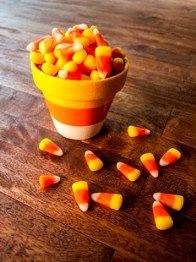 Fall Decoration Ideas: DIY Candy Corn Flower Pot.