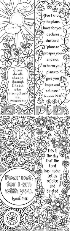 8 Bible Verse Coloring bookmarks #scriptures