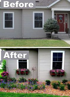 Add character with window boxes! ~ 17 Impressive Curb Appeal Ideas (cheap and easy!Would LOVE to do a garden next to my house like this (not the window boxes though).