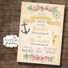 pirates and pixies party fairy invitation birthday by 5ducklings