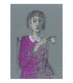Woman with Coffee Cup original drawing illustration by marina826