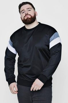boohoo Big And Tall Tricot Colour Block Sweater Chubby Men Fashion, Mens Plus Size Fashion, Large Men Fashion, Mens Fashion, Plus Size Men, Moda Plus Size, Fit Men Bodies, Clothes For Big Men, Big And Tall Outfits