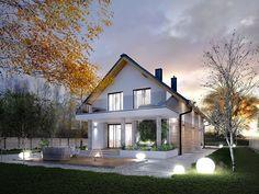 DOM.PL™ - Projekt domu MT Amarylis 5 paliwo stałe CE - DOM MS4-01 - gotowy koszt budowy Small Modern House Plans, Rustic House Plans, Dream House Plans, Floor Design, House Design, Bungalow Conversion, Planer, Architecture Design, New Homes