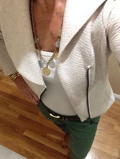 OOTD...CAbi Fall '14 Ryder Jacket, Tile Coin Necklace and Spring '14 Essential Tank and Coast Crop. www.nancydowning-schloss.cabionline.com #cabiclothing    It is such a beautiful day outside I had to pair Fall attire with Spring!