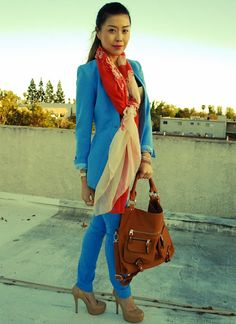 Try bright colors at work.  This blue suit is so refreshing and flattering.    #OfficeStyle #Blue #Suit