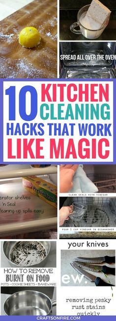 BEST ways to clean your kitchen and show you some neat cleaning hacks you've been missing out on. Definitely worth trying these kitchen cleaning hacks because it will SAVE so much time.