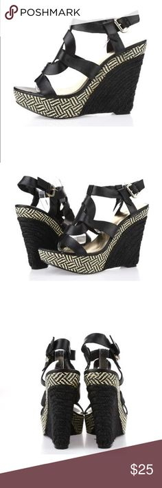 Guess Wedge Sandals Black leather strappy wedges.  Easy walking and fashionably.  4.5 inch wedge Guess by Marciano Shoes Wedges