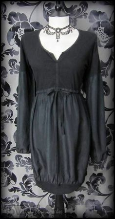 Black Silk Cotton Mixed Fabric Slouch Dress 16 Lagenlook Hippie Boho Casual Goth | THE WILTED ROSE GARDEN on eBay // Worldwide Shipping Available