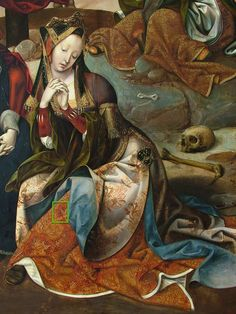 8a Detail of the woman in the foreground, and the skirt of Mary Magdalene in the upper right corner. Cornelis Engebrechtsz, Crucifixion triptych (fig. 5), middle panel.