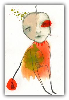 """Original Drawing, Abstract Portrait Collage,  Acrylic, Watercolor- Illustration Art  by Christina Romeo......""""Morning Went Too Soon"""" by ChristinaRomeo on Etsy"""