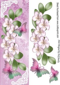 Cascading pink flowers with butterflies tall DL on Craftsuprint - Add To Basket!