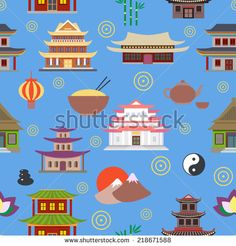 Chinese house and traditional culture symbols seamless pattern vector illustration - stock vector