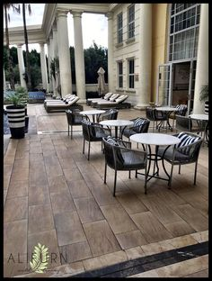What a stunning spot to enjoy a cuppa – the terrace at the Southern Sun Cullinan Hotel, Cape Town, featuring outdoor furniture by Alifurn Outdoor Living!