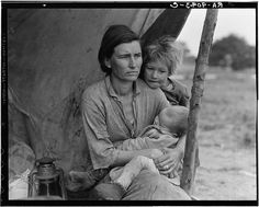 """Migrant agricultural worker's family. Seven hungry children. Mother aged thirty-two. Father is a native Californian. Destitute in pea picker's camp, Nipomo, California, because of the failure of the early pea crop. These people had just sold their tent in order to buy food. Of the twenty-five hundred people in this camp most of them were destitute"" - LOC"