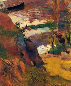 Fisherman and Bathers on the Aven by Paul Gauguin in oil on canvas, done in Now in a private collection. Find a fine art print of this Paul Gauguin painting. Paul Cezanne, Henri Matisse, Pablo Picasso, Landscape Art, Landscape Paintings, Art Aquarelle, Georges Seurat, Impressionist Artists, Arte Popular