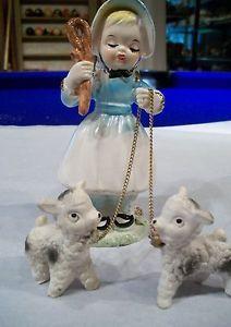 """Vintage """"Little Bo Peep"""" figurine with lambs....."""
