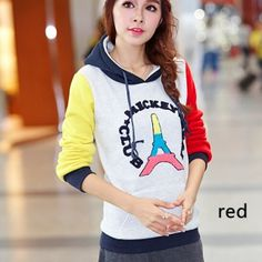 Eiffel Tower hooded sweatshirts for girls colorful sleeves stitching hoodies