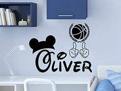 Mickey Mouse Basketball Ball Wall Decal Personalized Name Vinyl Sticker Decals Custom Name Nursery Decor Kids Room Childrens Bedroom NS1025 * Continue to the product at the image link.