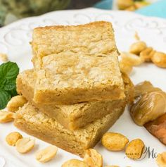 Peanut Butter Blondies Recipe Desserts with melted butter, light brown sugar, eggs, vanilla extract, peanut butter, salt, all-purpose flour