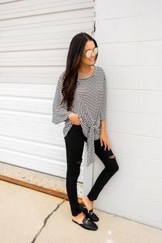 How To Look Your Best With Great Tips About Fashion! – Designer Fashion Tips - Fall Transition Style Fashion Outfits, Womens Fashion, Fashion Tips, Fashion Clothes, Dottie Couture Boutique, Outfit Goals, Trends, Top Knot, Black Stripes