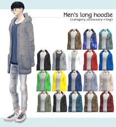 Men's long hoodie at Imadako via Sims 4 Updates
