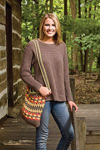 Crocheted top looks knitted. Free pattern from Talking Crochet.