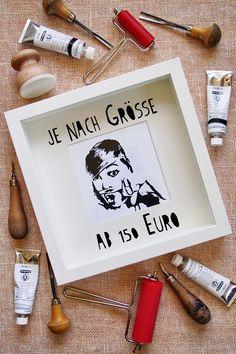 """Persönliche Linolschnitt-Porträts auf Bestellung - """"Fee ist mein Name"""""""