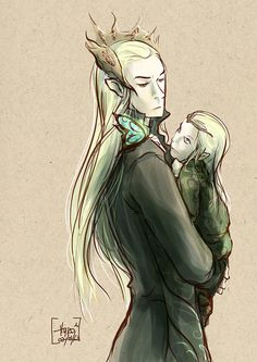 "Thranduil and Legolas (Oh man this makes me think of that ""baby"" song David Bowie sings in Labyrinth)"