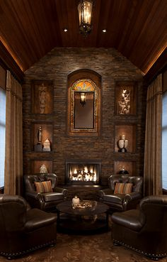 Leather Chairs by the Fire