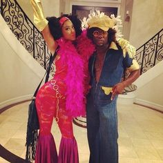 Kevin Hart and girlfriend Eniko Parrish rocked '70s wear. Source: Instagram user kevinhart4real                  Source: Getty