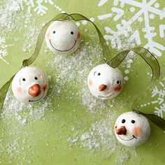 Snowman-Face Ornaments  It's easy to assemble a whole garland filled with these happy snowman faces. Start with small foam balls; cover with air-dry clay, adding an extra-small amount to each to shape into a nose if desired. Wet the clay to attach black beads for eyes; use a toothpick to draw mouths. Paint facial details with orange paint, or add a bit of cosmetic blush for rosy cheeks